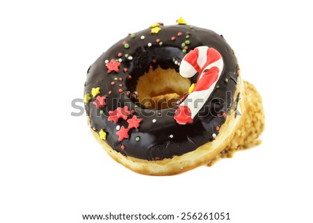 Doughnut chocolate sprinkles stars isolated on white background. - stock photo