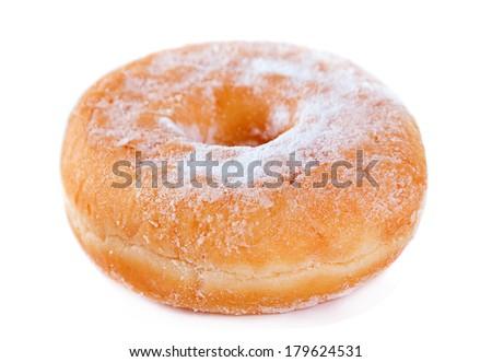 Doughnut powdered sugar isolated on white - stock photo