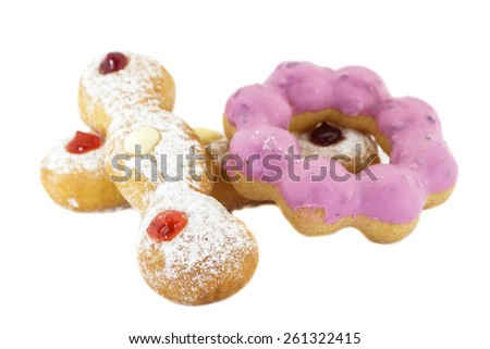 Doughnut with Stawberry, Bavarian, blueberry and Doughnut ring color pink isolated on white background. - stock photo