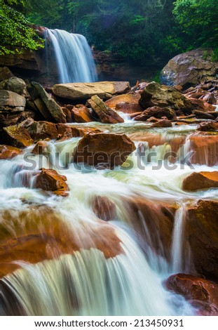 Douglas Falls, on the Blackwater River in Monongahela National Forest, West Virginia. - stock photo