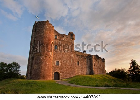 Doune Castle near Stirling, Scotland is a medieval courtyard fortress built around 1400 by Robert Stewart, Duke of Albany, the Scottish Regent. - stock photo