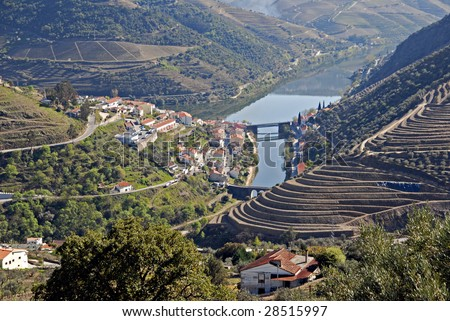 Douro Valley - main Vineyard region in Portugal. Town Pinhao. Portugal's port wine vineyards. Point of interest in Portugal.