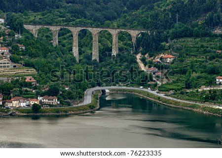 Douro Valley - Town Oliveira do Douro. Portugal's port wine region. Point of interest in Portugal. - stock photo