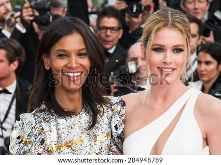 Doutzen Kroes, Liya Kebede attend the opening ceremony and premiere of La Tete Haute ( Standing Tall ) during the 68th annual Cannes Film Festival on May 13, 2015 in Cannes, France. - stock photo