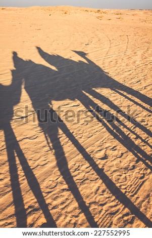 Douze, tunisia, camel and people in the sahara's desert - stock photo