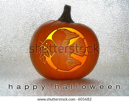 Dove Carved in Pumpkin - stock photo