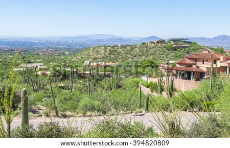 Dove Mountain Neighborhood near Tucson, Arizona - stock photo