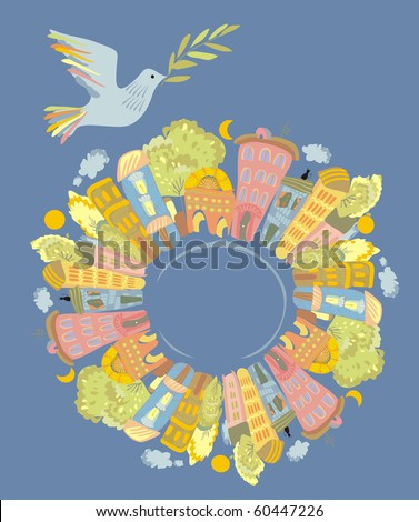 dove of peace over the world - stock photo