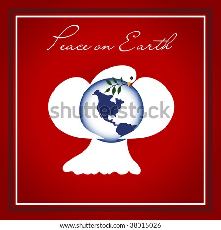 Dove of Peace with wings wrapped around the planet Earth, with an Olive branch. - stock photo