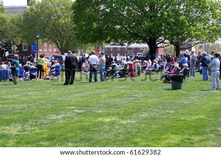 DOVER, DE - APRIL 15 : Tax Day Tea Party Rally on Legislative Mall April 15, 2010 in Dover, Delaware. - stock photo