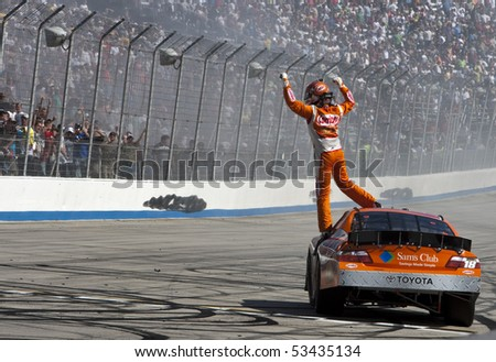DOVER, DE - May 15:  Kyle Busch wins at the Dover International Speedway for the HELLUVA GOOD! 200 on May 15, 2010 in Dover, DE - stock photo