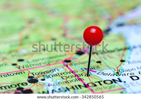 Dover pinned on a map of USA  - stock photo