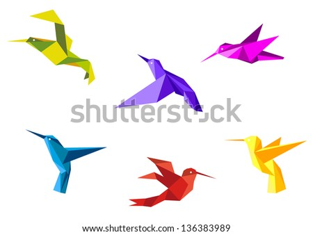 Doves and hummingbirds set in origami paper style. Vector version also available in gallery