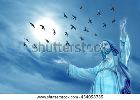 Doves raise skyward representing angels carrying the soul to Heaven - stock photo