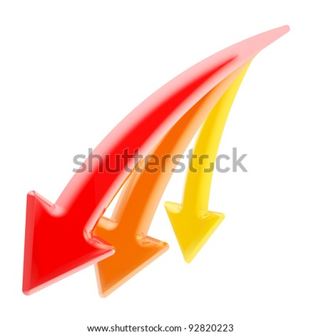 Down and decline: set of three red, orange, yellow declining arrows isolated on white