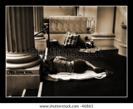 Down and out - stock photo
