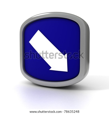 Down Arrow Blue sign isolated on a white background.