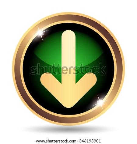 Down arrow icon. Internet button on white background. - stock photo
