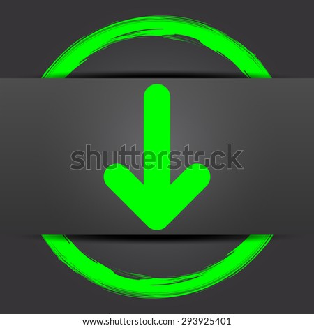 Down arrow icon. Internet button with green on grey background.  - stock photo