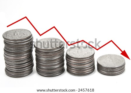 Down arrow over coins - stock photo