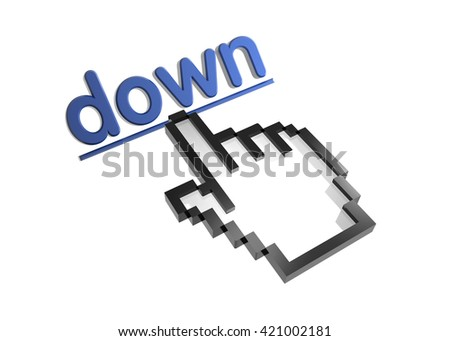 down. 3d rendered inscription. Link and finger, pointer. Isolated on white