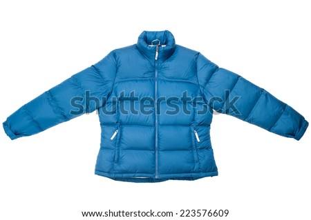Down jacket isolated on white background. - stock photo