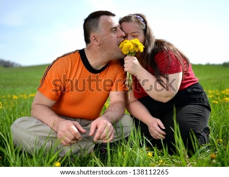 down syndrome couple - stock photo