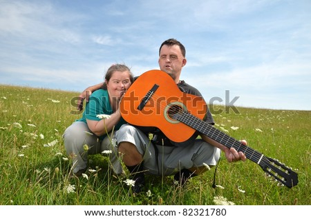 down syndrome love couple - stock photo