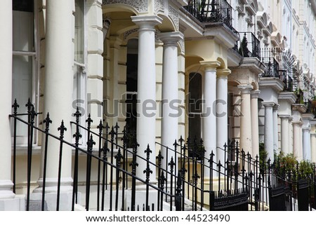 down the streets around notting hill - stock photo
