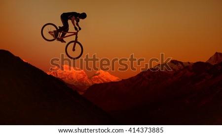 Downhill mountain bike - stock photo