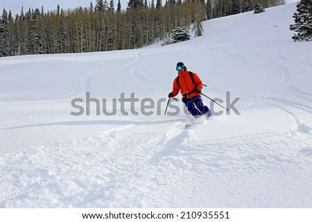 Downhill skier in the Utah mountains, USA. - stock photo