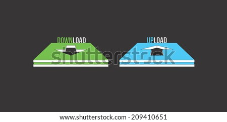 Download and upload icon button isolated on black background - stock photo