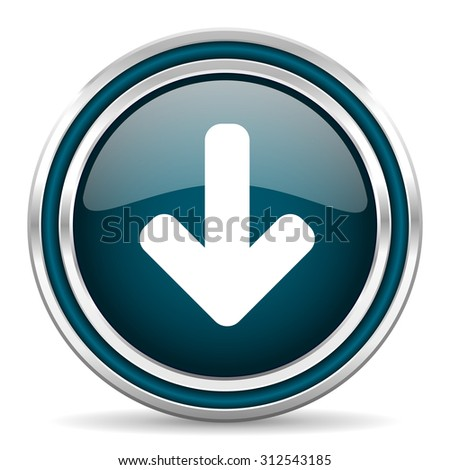 download arrow blue glossy web icon with double chrome border on white background with shadow    - stock photo