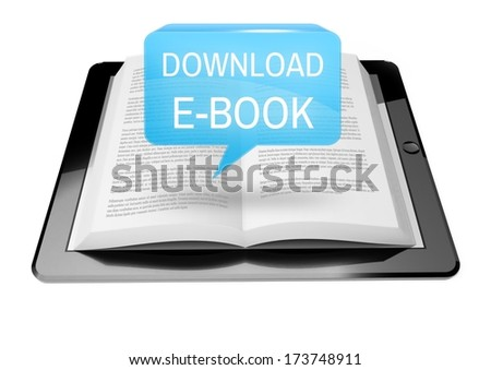 Download Ebook icon button above e-book reader tablet with text - stock photo