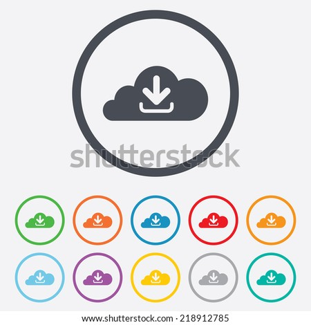 Download from cloud icon. Upload button. Load symbol. Round circle buttons with frame.