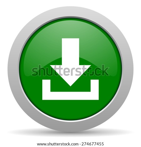 download green glossy web icon  - stock photo