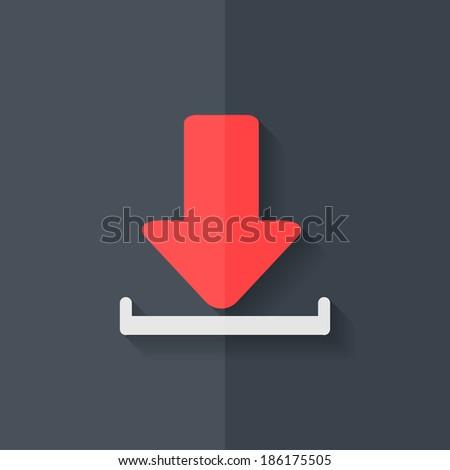 Download icon. Flat design. - stock photo