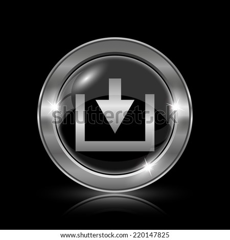Download icon. Internet button on black background.  - stock photo