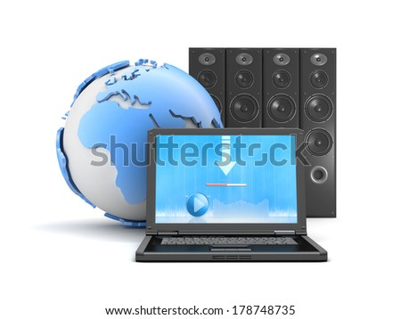 Download music from internet - laptop, sound system and earth globe