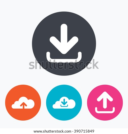 Download now icon. Upload from cloud symbols. Receive data from a remote storage signs. Circle flat buttons with icon.