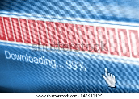 Download process bar on LCD screen - stock photo