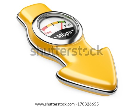 Download speedometer and arrow sign. Internet connection speed concept. 3d illustration on a white background - stock photo