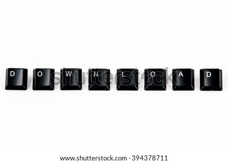 download word written with black computer buttons on white background