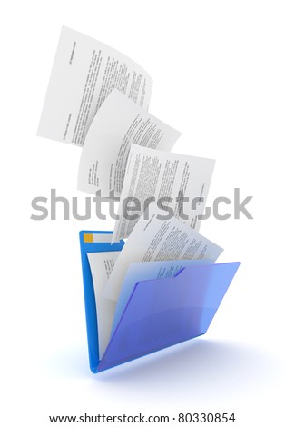 Downloading dcuments in blue folder. 3d illustration. - stock photo