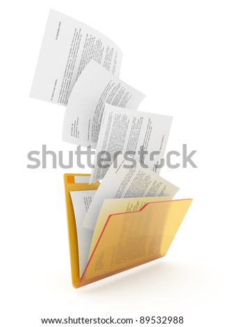 Downloading dcuments in yellow folder. 3d illustration. - stock photo