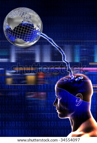 Downloading digital information concept - stock photo