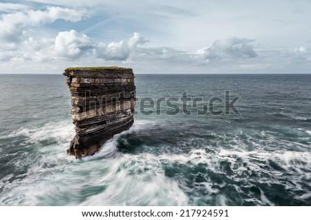 Downpatricks Head at Ireland - stock photo