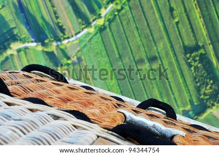 Downside view from hot air balloon - stock photo
