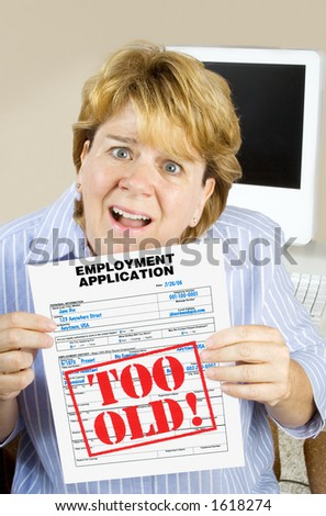 Downsized woman, rejected for being too old. Age discrimination, downsizing, shrinking labor pool. - stock photo