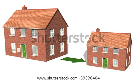 Downsizing, moving down, realizing assets 2 - stock photo